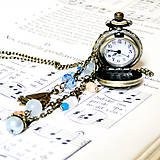 - Vintage Blue Jade & Pearls Watches Pendant / Hodinky na reti - 7639636_
