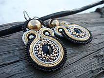 - Soutache náušnice Black&Gold&Silver - 7638879_