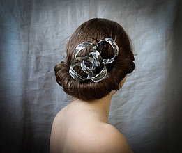 Ozdoby do vlasov - Sivo-biely kvet - fascinátor - 7638486_