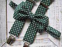 Doplnky - Pánsky motýlik a traky - set v zelenom s bodkami - 7638376_