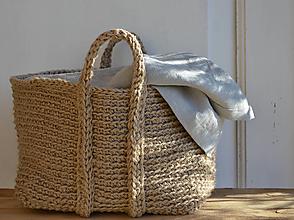 Košíky - prírodný jutový kôš L - 7636303_