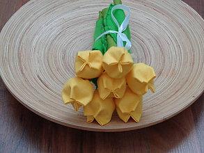 Dekorácie - Žltá kytica tulipánov z látky - 7636830_