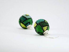 Náušnice - Háčkované korálkové náušnice Green - 7639623_