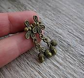 Náušnice - Bronzové napichovačky so žaľuďmi č.656 - 7636991_