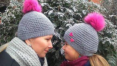"Detské čiapky - Háčkovaná čiapka ""Ja a mama - brmbolcovka"" NA OBJEDNÁVKU - 7635714_"