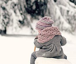 Detské doplnky - Sněhová královna - nákrčník Růžová mlha - 7636182_