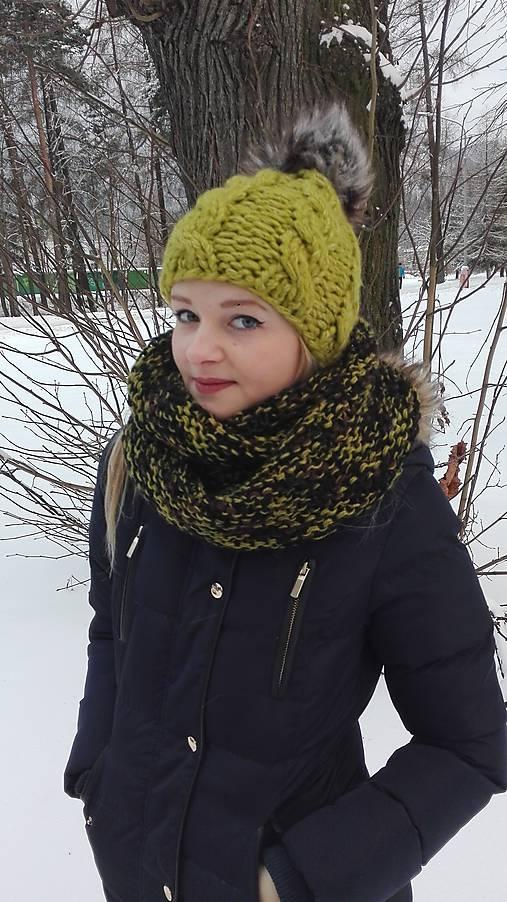 60ad70ddf704 Zelený pletený set- čiapka a nákrčník   Simply - SAShE.sk - Handmade ...