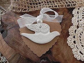 Darčeky pre svadobčanov - Svadobný holúbok - čipka v perí:-) - 7640070_