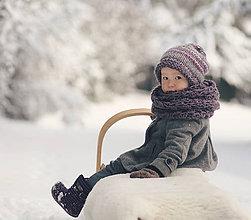 Detské doplnky - Sněhová královna - nákrčník Starofialový - 7643218_