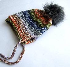 Čiapky - Dámska melírovaná čiapka s kožušinovým brmbolcom - 7640602_