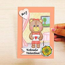 Papiernictvo - Medvedík - valentínska pohľadnica (elegant ona (kvet 2)) - 7643079_