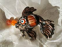 Zlatá rybka - tiffany, farebný achát