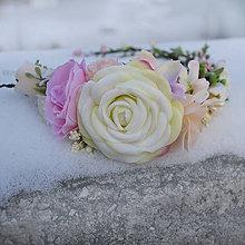 Ozdoby do vlasov - Čelenka s ružami v pastelových farbách - 7646056_