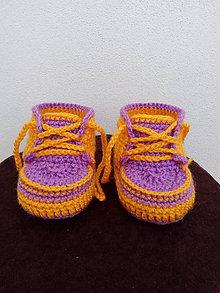 Topánočky - Žĺto-fialové tenisky - 7645478_
