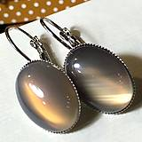 Grey Agate French Clasp Earrings / Náušnice so šedým achátom
