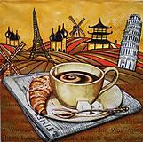 - S057 - Servítky - káva, raňajky, croissant, šálka, noviny, cukor - 7643517_