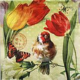 - S167 - Servítky - vták, motýľ, tulipán, jar - 7644627_