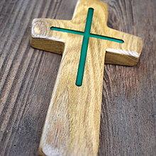 Dekorácie - Krížik z agátového dreva - svietiaci III. - 7643500_