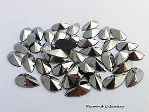 Galantéria - Ozdobné kamienky 8x13 mm - Šedostrieborné - 7644714_