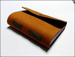 Papiernictvo - kožený zápisník v škoricovo- tehlovom prevedení na magnet A6 - 7644967_