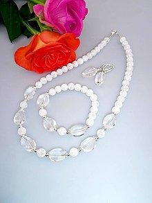 Sady šperkov - horský a praskaný krištál súprava v striebre - 7647325_