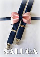 Doplnky - Pánsky staroružový, púdrový motýlik + traky s modrým - modrý - 7646453_