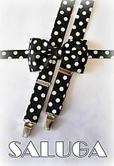 Doplnky - Čierny pánsky motýlik na biele bodky a traky - 7646474_