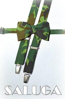 Doplnky - ARMY - maskáčový motýlik + traky zelený, vojenský - 7646291_