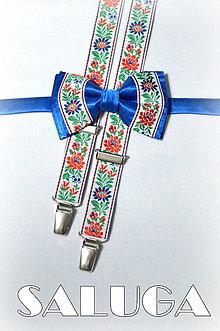 Doplnky - Folklórny pánsky modrý motýlik + traky - folkový - ľudový - 7646340_
