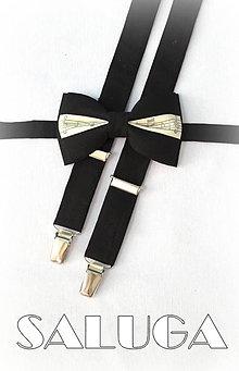 Doplnky - Pánsky hudobný motýlik + traky noty - čierne - pre hudobníka - 7646347_