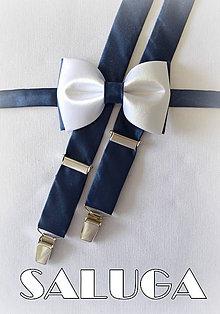 Doplnky - Bielo modrý pánsky motýlik + traky - 7646469_