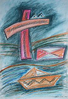 Kresby - Pastel - Kríž na moru - 7644206_