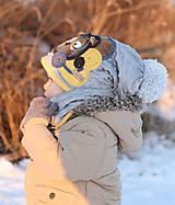 Detské čiapky - Setík s medvedíkom - 7646107_