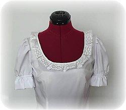 Topy - Biele body s krátkym rukávom s ľudovým motívom - 7647043_