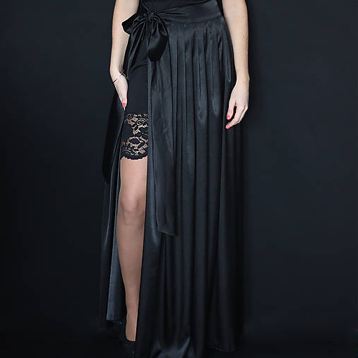 Saténová skladaná sukňa na zaviazanie rôzne farby