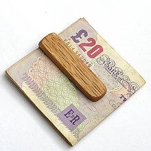 Tašky - Dubová pozdĺžna spona na peniaze - 7645334_
