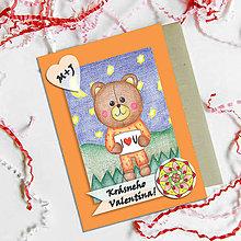 Papiernictvo - Medvedík - valentínska pohľadnica (nočná láska (kvet 4)) - 7644434_