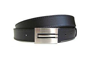 Opasky - Čierny kožený elegantný opasok - 7649959_