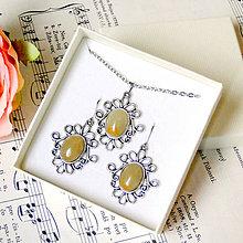 Sady šperkov - Antique Silver Yellow Aventurine Set - Stainless Steel / Sada so žltým aventurínom - chirurgická oceľ - 7647668_