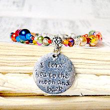 Náramky - Romantic Bracelet I Love You to the Moon and Back / Korálkový náramok s príveskom - 7651015_