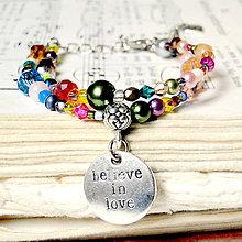 Náramky - Romantic Bracelet Believe in Love   Korálkový náramok s príveskom  - 7651038  b6332d17b44