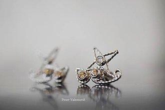 Náušnice - Padá hviezda - strieborné náušnice - 7651382_