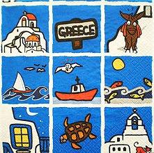 Papier - S156 - Servítky - loď, Grécko, korytnačka, more, ryba, čajka - 7647943_