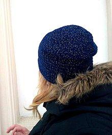 Čiapky - Čiapka tmavě modrá třpytivka - 7651311_