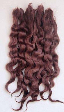 Materiál ručne robený - Vlasy pre bábiky - mliečna čokoláda - 7651071_