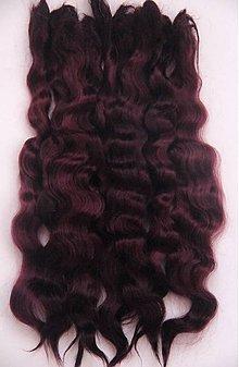 Materiál ručne robený - Vlasy pre bábiky - tmavá bordová - 7651097_