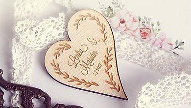 Darčeky pre svadobčanov - Drevená magnetka pre svadobčanov - 7649955_