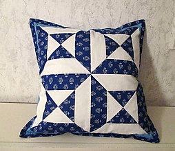 Úžitkový textil - vankúš patchwork modrý - 7650659_