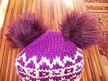 Čiapky - Pletená čiapka s nórskym vzorom a dvoma brmbolcami ) - 7650090_