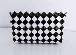 Kabelky - Kabelka - ecoist - čierno biela šachovnica s bodkami - 7648216_